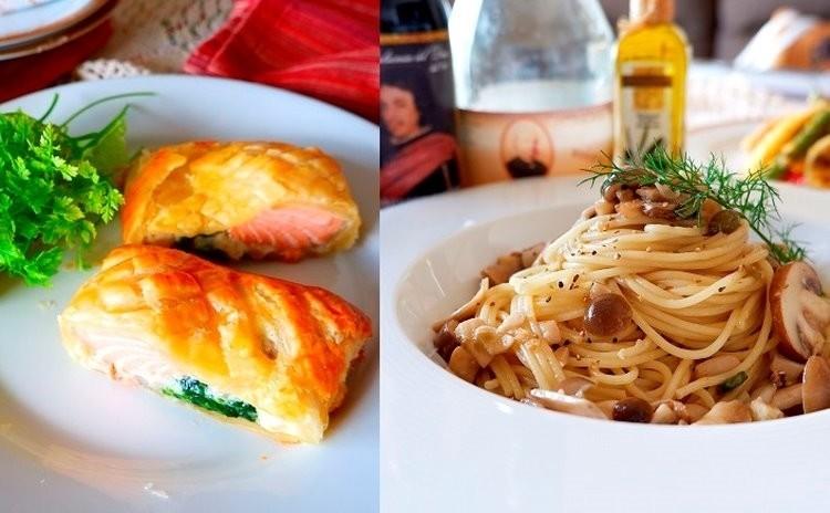 秋を楽しむイタリアン サク!トロッ!サーモンとクリームのパイ包み焼き キノコたっぷりフンギビアンコや簡単ブランマンジェ