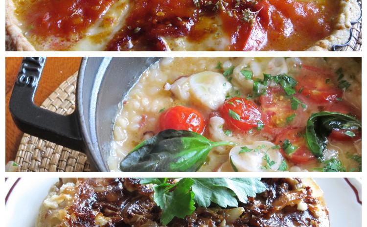 イタリア風タコ飯、カリフラワーのアッフォガート、カラメルトマトのタルト