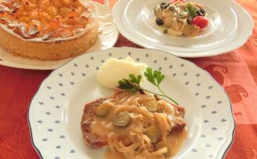 手軽においしくポークソテーとエスカベーシュ!りんごとさつま芋のタルト