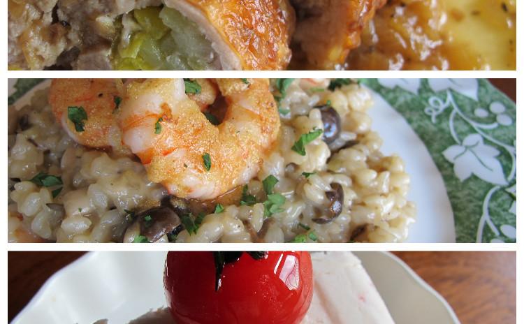 エビとポルチーニのリゾット、チキンロールのマスタード風味、トマトのセミフレッド