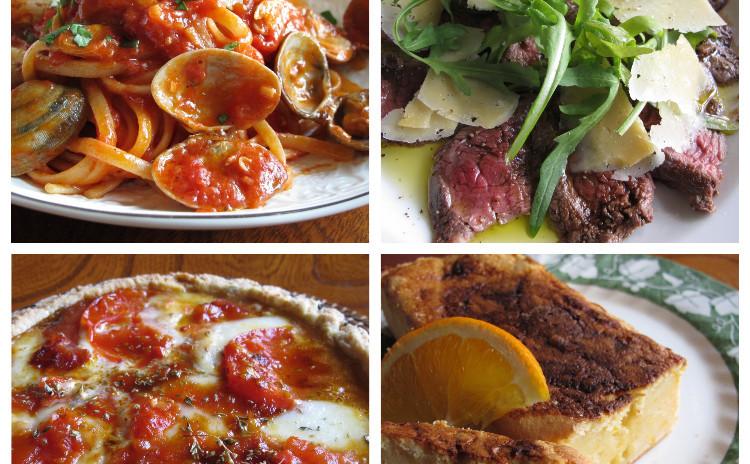 ボンゴレロッソ、タリアータ、カラメルトマトのタルト、オレンジ風味のリコッタチーズケーキ