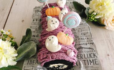 ハロウィンロールケーキとお化けのメレンゲクッキー