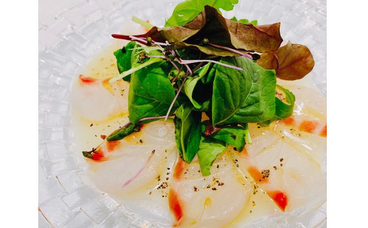 【砂糖不使用★ヘルシーおうち洋食】①真鯛のカルパッチョ、②パプリカのムース、③具沢山ごちそう麦サラダ