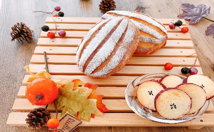 秋満載「2種類のミルクハース(かぼちゃと紫いも)とさつまいものクッキー」3品お持ち帰り