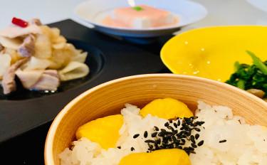 秋味!もちもち栗ご飯&温豆腐の明太餡&茹で豚と甘酢大根のさっぱり和え