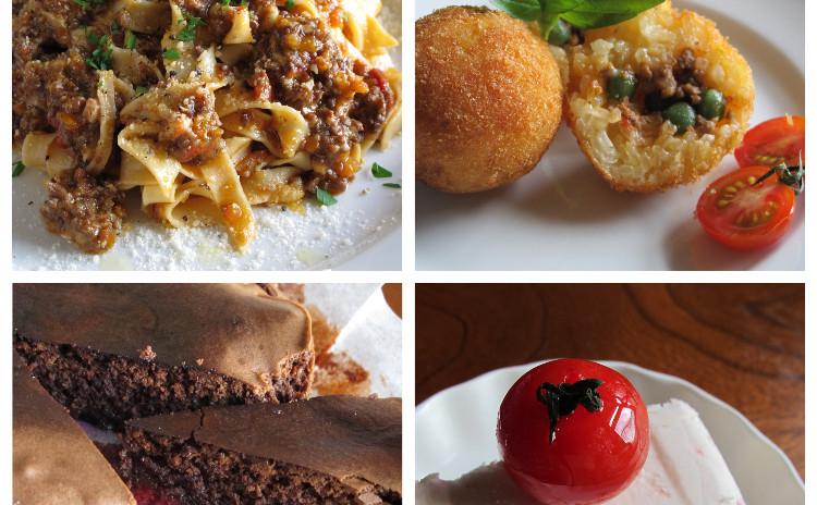 ボロネーゼ、アランチーニ、ベリーのチョコレートケーキ、トマトのセミフレッド