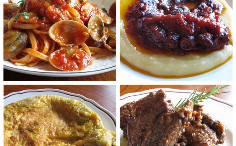 ボンゴレロッソ、白子のオムレツ、溺れダコのトマト煮、スペアリブとレンズ豆の煮込み