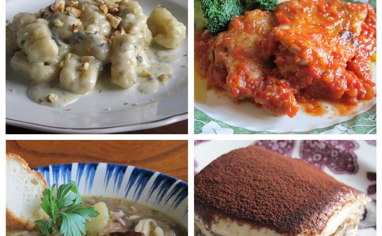 やわらかニョッキゴルゴンゾーラとチキンのトマト煮、シイタケスープ、定番ティラミス