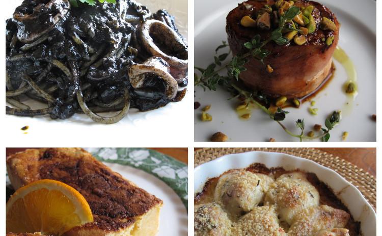 イカ墨のパスタ、白子のグラタン、豚ヒレ肉のベーコン焼き、オレンジ風味のリコッタチーズケーキ
