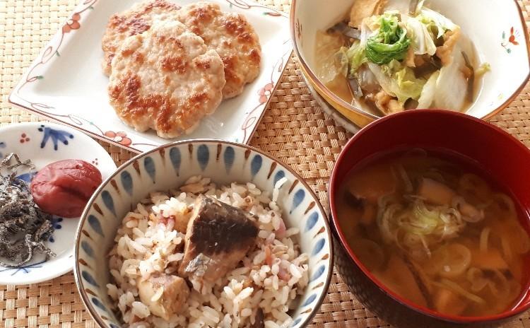 ★超時短レシピ★サバ缶ご飯・豚肉のガレット・白菜と油揚げのさっと煮・干し椎茸とネギの味噌汁