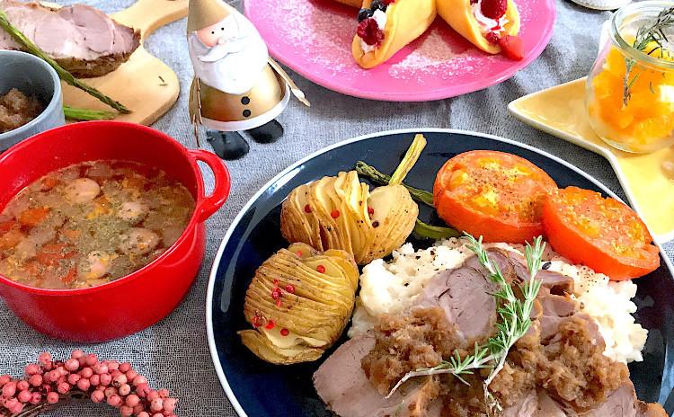 絶品ローストポークにチーズリゾット☆ビストロ風クリスマスプレート