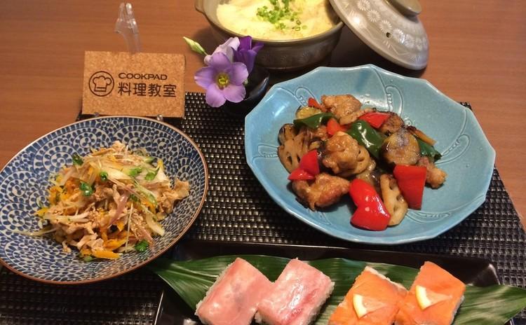 すぐ出来る!タッパーで作る押し寿司と野菜たっぷり黒酢南蛮の献立