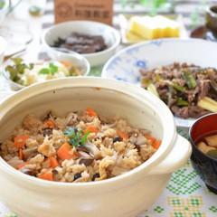 焼きキノコの炊き込みご飯・牛肉のすき焼風炒め・煮物・秋のおもてなし✿