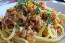 料理レッスン写真 - タコのラグーソースリングイネ、モッツァレラインカロッツァ
