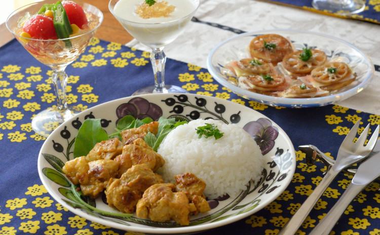 簡単おもてなし♪タンドリーチキン&自家製ジュレでキラキラ可愛い食卓に♪