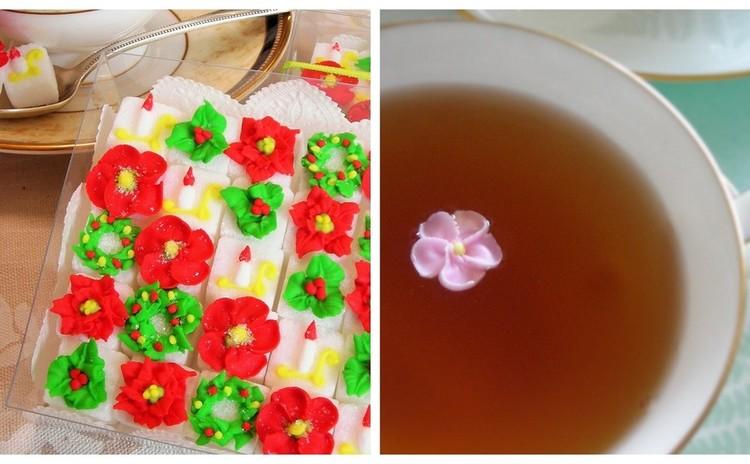 アイシングで角砂糖にお花を描いてクリスマスを楽しもう!