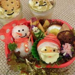 クリスマス迄に練習できるサンタの簡単キャラ弁と、手作りプリン試食