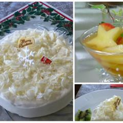 クリスマスの女子会に♪ まっ白スノーホワイトケーキ&ティーパンチ