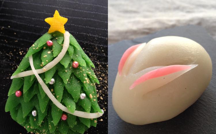 お家で簡単!冬の本格和菓子♪ かわいい上生菓子「ノエル」と「雪うさぎ」