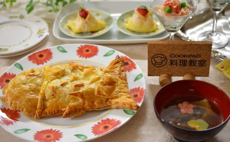 魚のパイ包み焼き~炒り大豆スープ~そして子供が喜ぶ可愛いお雛様大福☆