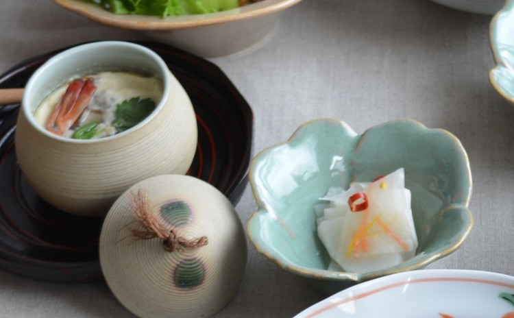 蒸し器を使わないお手軽茶碗蒸し&大根の酢の物ゆず風味