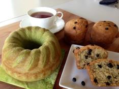 料理レッスン写真 - 春色抹茶のクグロフパン(天然酵母)とブルーベリー&ナッツマフィン