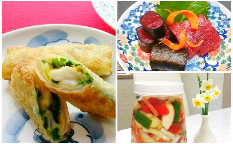 海老たっぷりの焼き春巻き&生鮪で磯辺巻き&野菜たっぷりヘルシー料理!