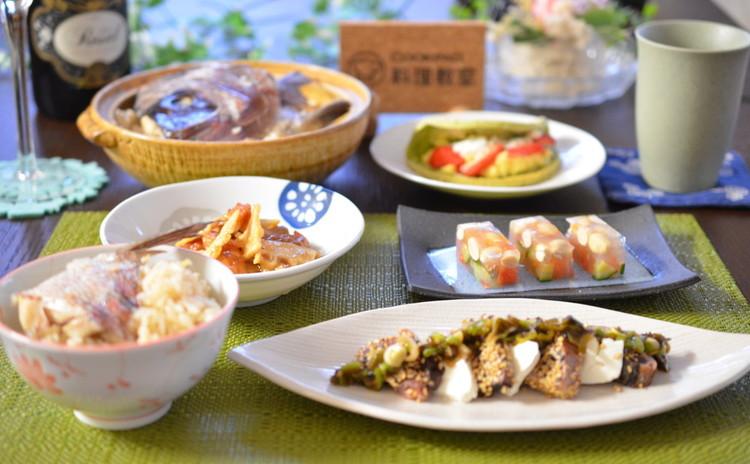 端午の節句に✿鯛めし☆筍の旨煮☆炙り魚のネギソース☆大豆の寒天寄せで㊗