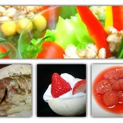 春のパーティーメニュー。めでたい鯛の香草塩釜焼き、春野菜料理&パン