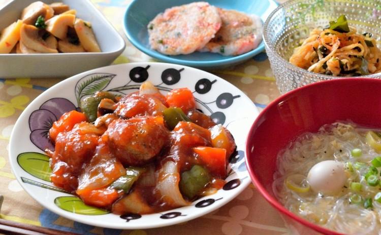 揚げない酢豚&もっちり大根餅&春雨のサンラータン+副菜2品の中華献立♡