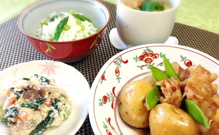 ホクホクの新じゃがと豚の煮っころがし❤ 旬の野菜DE和食御膳♫