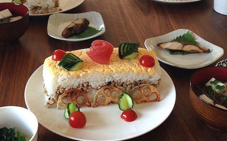 マグロの薔薇で華やか押し寿司~他三品とレンジで洋風おこし