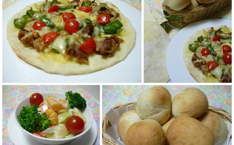 オリーブオイルがベースの手作りフォカッチャ生地でピザともちもちパン