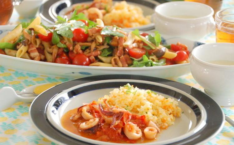 夏を先取り!イカのトマト煮とパスタサラダで食卓に夏の彩りを♪