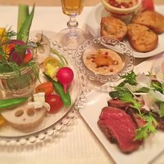 初夏の華やかパーティメニュー~タリアータ、バーニャカウダ、海老トースト