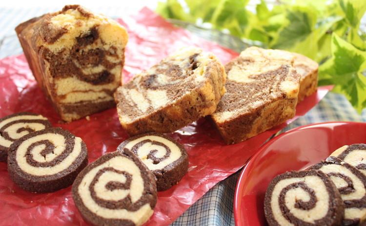 お菓子作りの基本をマーブルパウンドケーキとグルグル渦巻きクッキーで学ぶ