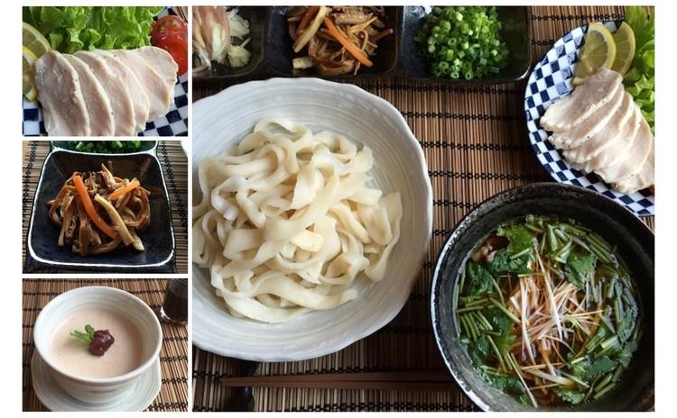 武蔵野 糧(かて)うどん☆手打ち麺を薬味たっぷりのつけ汁で☆梅雨の養生