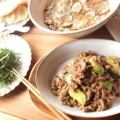 顔や手足をキュッとスッキリ!牛肉とアボカドの炒め物と基本の和風出汁雑炊