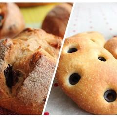 デリ付!天然酵母でクランベリーの全粒粉パンとオリーブ香るフォカッチャ