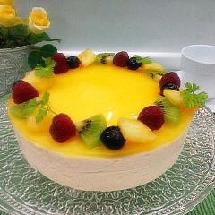 はじめてさんにも出来るオレンジゼリーがのったなめらかレアチーズケーキ