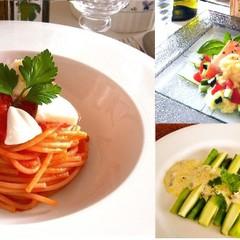 夏はひんやり!トマトの冷製パスタ サーモンのソテーは夏野菜サラダ仕立て