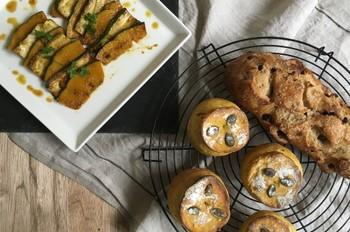 料理レッスン写真 - 自家製酵母パン!パンプキンシャンピニオン&レーズンシュガー、焼きサラダ