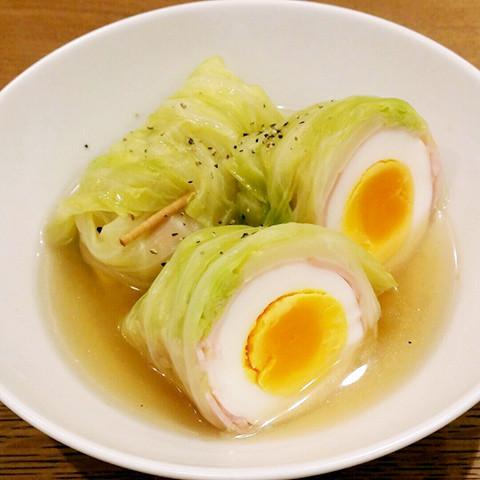 切ってびっくり!「卵丸ごとロールキャベツ」に子ども喜ぶ♪