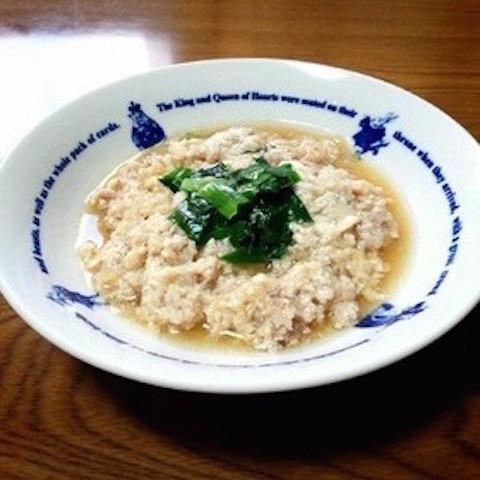 【レンチンで】ふわふわ美味!「豆腐と豚ひき肉の生姜蒸し」が寒い日の晩酌にぴったり♪