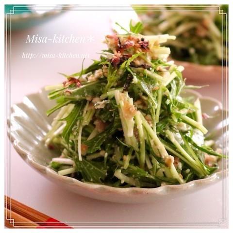 豆腐をドレッシング代わりに♪「水菜の白あえ風サラダ」がさっぱりうま〜い!