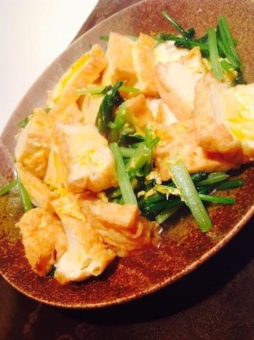 減塩でやさしい味に♪だしのうま味がじゅわっと広がる「厚揚げと小松菜の卵炒め」の献立
