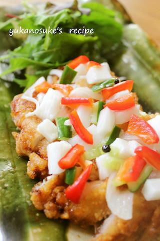 野菜たっぷり!カリッと美味な「揚げ鶏のさわやかソースがけ」減塩献立