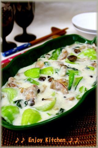 生クリーム不要!とろとろおいしい「鶏肉と青梗菜のクリーム煮」の簡単献立