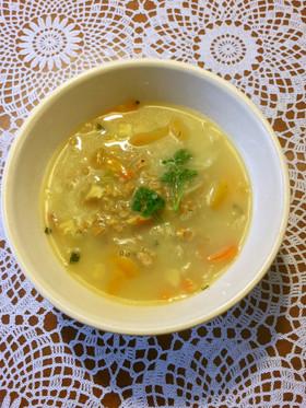 クミンと大麦入り野菜スープ