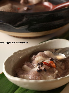 身体に優しい*黒米入り鶏の煮込みスープ。
